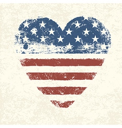 heart shaped american flag vector image vector image