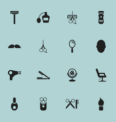 set of 16 editable hairdresser icons includes vector image vector image