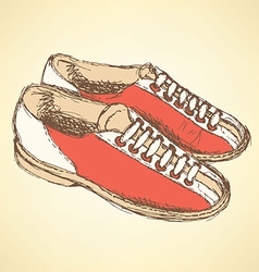 Sketch bowling shoes in vintage style vector