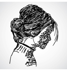 A sketch of the girl with words written on her vector image vector image