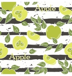 Apples on dark gray stripes vector image
