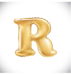 Balloon letter r realistic 3d isolated gold vector