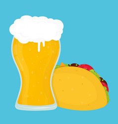 beer and taco flat cartoon vector image vector image