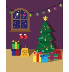 Christmas room poster or card vector image