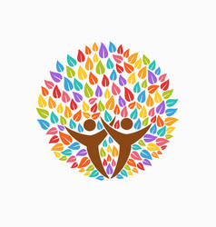 color tree people symbol for community team help vector image vector image