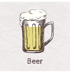 colorful of hand drawn sketch of beer mug vector image