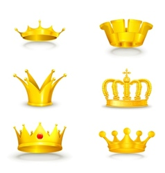 Crown set on white vector image vector image