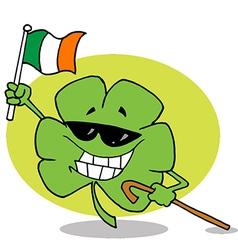 Shamrock Carrying A Cane And Waving An Irish Flag vector image