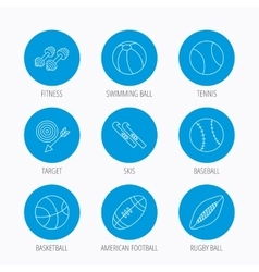 Sport fitness tennis and basketball icons vector image
