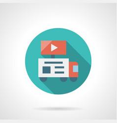 Video advertising installation round icon vector
