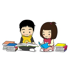 boy and girl read a book vector image vector image