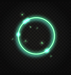 neon green round frame with space for text vector image