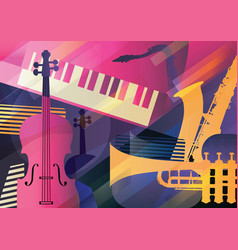 abstract jazz art music instruments trumpet vector image
