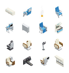 Airplane interior isometric icon set vector