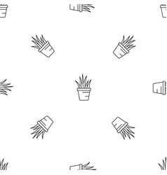 aloe pot pattern seamless vector image