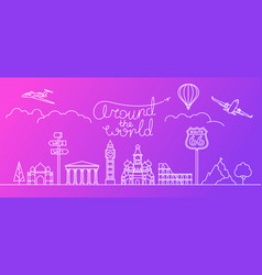 around the world concept thin line style vector image