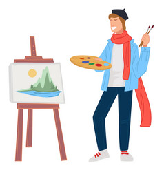 Artist man painting landscape picture on easel vector