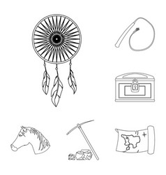 attributes of the wild west outline icons in set vector image