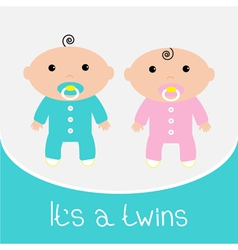 Baby shower card its a twins boy and girl vector
