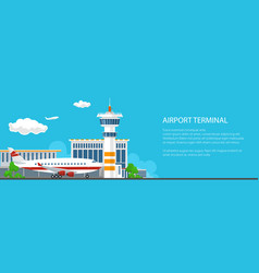 Banner of airport with control tower and airplane vector
