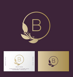 Beauty salon logo b monogram floral vector