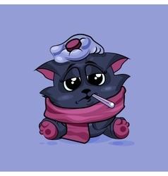 Black cat sick vector