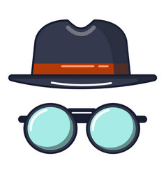 Black hat and glasses icon cartoon style vector