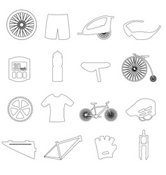Black outline cycling theme icons set eps10 vector