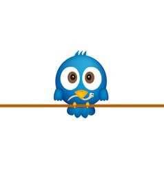Blue bird with worm vector image