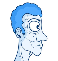 Blue face man vector