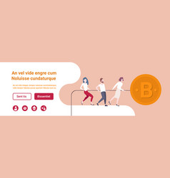 Business people pulling rope big bitcoin icon vector