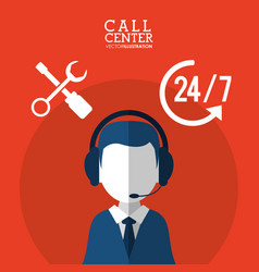 Call center male service support 24-7 vector