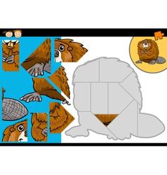 Cartoon beaver jigsaw puzzle game vector