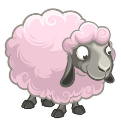Cartoon fluffy funny sheep stands alone isolated vector