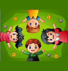 cartoon kids lying on green grass vector image