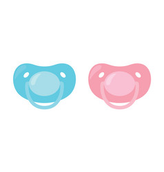 Child pacifier baby nipple set blue and pink vector