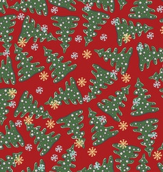 Christmas and New Year seamless pattern vector image