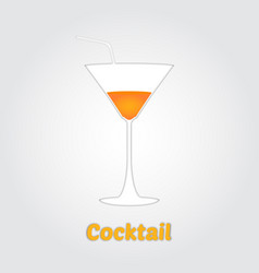 Cocktail in paper cut style vector