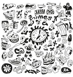 coffee and sweets - doodles collection vector image