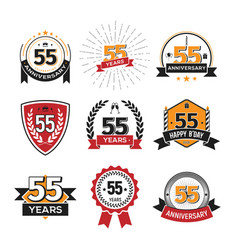 collection of retro 55 th years anniversary logo vector image