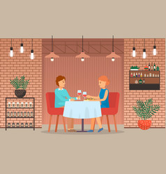 Couple on date in restaurant eat and drink wine vector