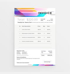 Creative colorful invoice template design vector