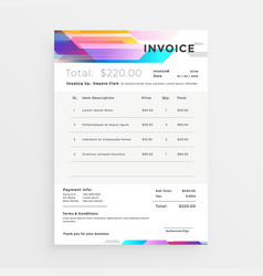 creative colorful invoice template design vector image
