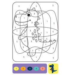 cute dino coloring page for kids coloring puzzle vector image