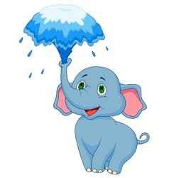 Cute elephant cartoon blowing water out of his tru vector