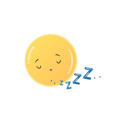 Cute funny yellow sun sleeping emoji sticker vector