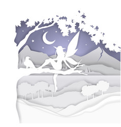 cute magical fairy in paper vector image
