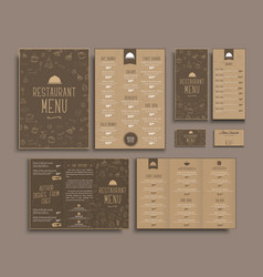 Design a4 menu retro folding brochures flyers vector