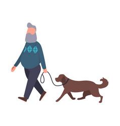 Dog walker walking pet outdoor senior stroll vector