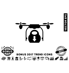 Drone Drop Cargo Flat Icon With 2017 Bonus Trend vector image